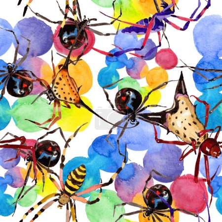 Exotic spiders wild insect in a watercolor style. Seamless background pattern. Fabric wallpaper print texture. Aquarelle wild insect for background, texture, wrapper pattern or tattoo.