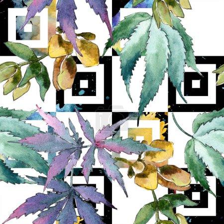Photo pour Feuilles de cannabis vert aquarelle. Feuillage floral de jardin botanique de plante de feuille. Modèle de fond sans couture. Texture d'impression de papier peint tissu. Feuille Aquarelle pour fond, texture, motif enveloppant . - image libre de droit