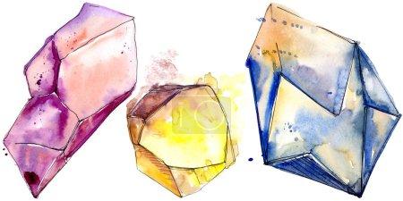 Colorful diamond rock jewelry mineral. Isolated illustration element. Geometric quartz polygon crystal stone mosaic shape amethyst gem.