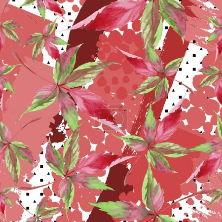 Photo for Watercolor red grapes leaves. Leaf plant botanical garden floral foliage. Seamless background pattern. Fabric wallpaper print texture. Aquarelle leaf for background, texture, wrapper pattern. - Royalty Free Image
