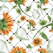 """Постер, картина, фотообои """"Акварель оранжевый цветок подсолнечника. Ботанический цветочные цветок. Бесшовный фон узор. Обои для рабочего стола ткань печати текстуры. Акварель Уайлдфлауэр для фона, текстуры, шаблон оболочки, границы."""""""