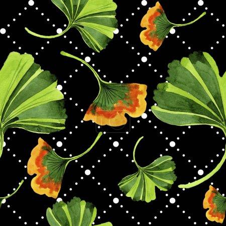 Photo pour Feuilles colorées ginkgo. Feuillage floral de jardin botanique de plante de feuille. Modèle de fond sans couture. Texture d'impression de papier peint tissu. Feuille Aquarelle pour fond, texture, motif enveloppant . - image libre de droit