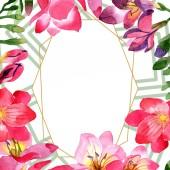 """Постер, картина, фотообои """"Акварель фрезии розовый цветок. Ботанический цветочные цветок. Площадь орнамент границы кадра. Акварель Уайлдфлауэр для фона, текстуру, узор оболочки, рамки или границы."""""""