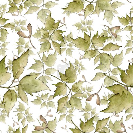Photo for Green maple leaves. Leaf plant botanical garden floral foliage. Seamless background pattern. Fabric wallpaper print texture. Aquarelle leaf for background, texture, wrapper pattern, frame or border. - Royalty Free Image