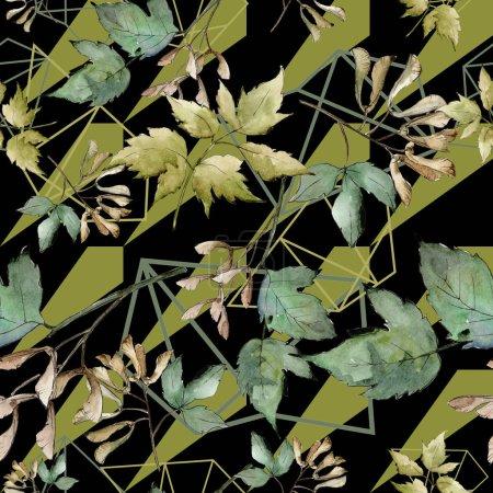 Photo pour Feuilles d'erable en vert. Feuillage floral du jardin botanique plante feuille. Motif de fond transparente. Texture impression de tissu papier peint. Feuille d'aquarelle pour fond, texture, motif wrapper, cadre ou une bordure. - image libre de droit