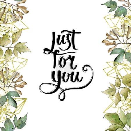 Photo pour Feuilles d'érable vertes. Feuillage floral de jardin botanique de plante de feuille. Cadre bordure ornement carré. Feuille Aquarelle pour fond, texture, motif d'emballage, cadre ou bordure . - image libre de droit