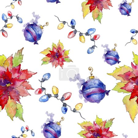 Christmas winter holiday symbol in a watercolor style. Seamless background pattern. Fabric wallpaper print texture. 2019 year. Aquarelle christmas card for background, texture, wrapper pattern.