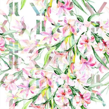 Photo pour Bouquet aquarelle coloré alstroemeria fleur. Fleur botanique florale. Modèle de fond sans couture. Texture d'impression de papier peint tissu. Aquarelle fleur sauvage pour fond, texture, motif enveloppant . - image libre de droit
