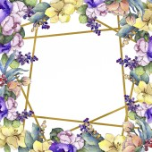 """Постер, картина, фотообои """"Красочный букет акварель тропический цветок. Ботанический цветочные цветок. Площадь орнамент границы кадра. Акварель Уайлдфлауэр для фона, текстуру, узор оболочки, рамки или границы"""""""
