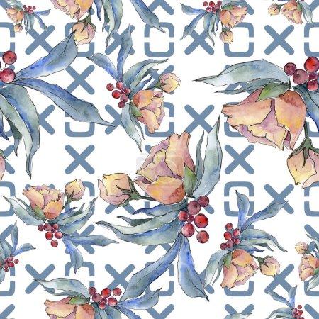 Photo pour Fleur tropicale aquarelle bouquet coloré. Fleur botanique floral. Motif de fond transparente. Texture impression de tissu papier peint. Wildflower aquarelle pour fond, texture, motif de wrapper. - image libre de droit