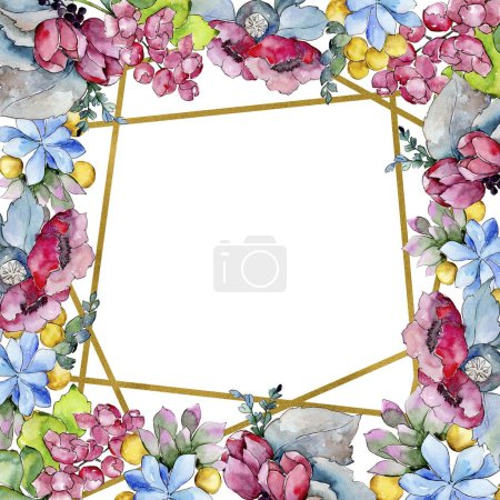 Watercolor colorful tropical bouquet flower. Floral botanical flower. Frame border ornament square. Aquarelle wildflower for background, texture, wrapper pattern, frame or border.