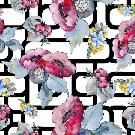 Watercolor colorful tropical bouquet flower. Floral botanical flower. Seamless background pattern. Fabric wallpaper print texture.Aquarelle wildflower for background, texture, wrapper pattern, border.