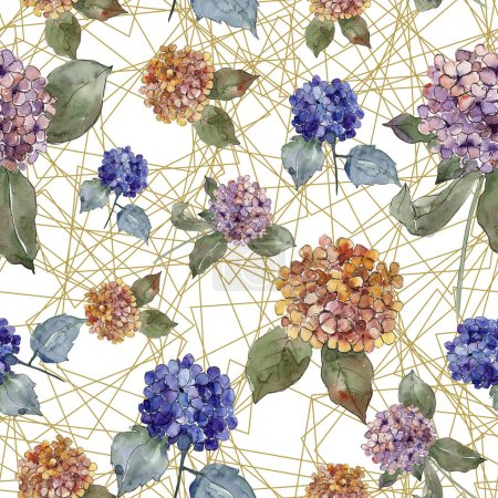 Photo for Watercolor colorful gortenzia flowers. Floral botanical flower. Seamless background pattern. Fabric wallpaper print texture. Aquarelle wildflower for background, texture, wrapper pattern, border. - Royalty Free Image