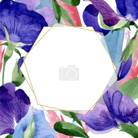 Photo for Watercolor purple sweet pea flower. Floral botanical flower. Frame border ornament square. Aquarelle wildflower for background, texture, wrapper pattern, frame or border. - Royalty Free Image
