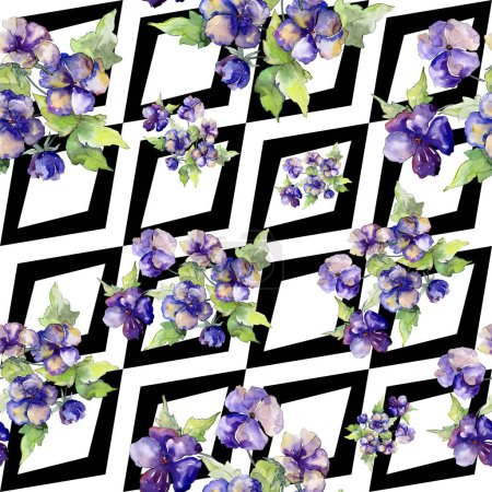 Photo for Watercolor purple bouquet of viola flower. Floral botanical flower. Seamless background pattern.Fabric wallpaper print texture. Aquarelle wildflower for background, texture, wrapper pattern, frame. - Royalty Free Image