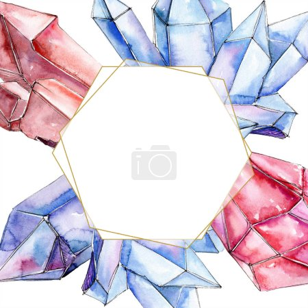 Photo for Red and blue diamond crystal mineral. Frame border ornament square. Geometric polygon crystal stone. Watercolor background illustration set. - Royalty Free Image