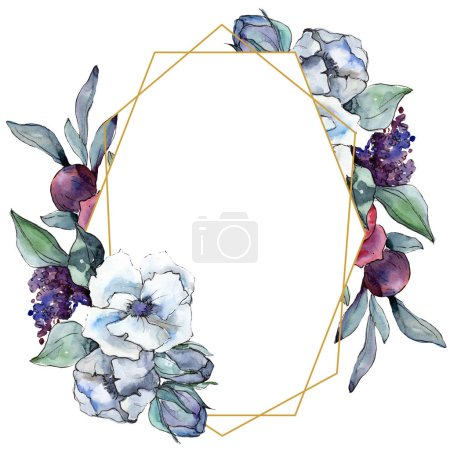 Photo for Bouquet floral botanical flower. Wild spring leaf wildflower isolated. Watercolor background illustration set. Watercolour drawing fashion aquarelle isolated. Frame border ornament square. - Royalty Free Image