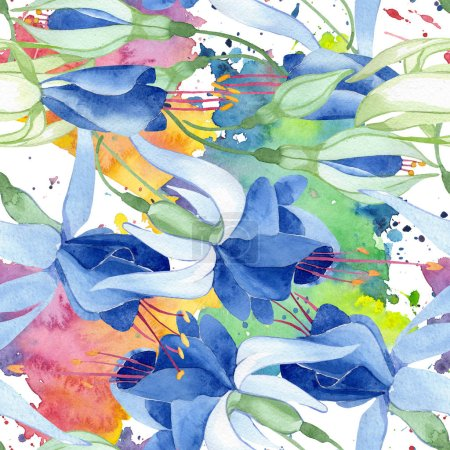 Photo for Blue fuchsia foral botanical flower. Wild spring leaf isolated. Watercolor illustration set. Watercolour drawing fashion aquarelle. Seamless background pattern. Fabric wallpaper print texture. - Royalty Free Image