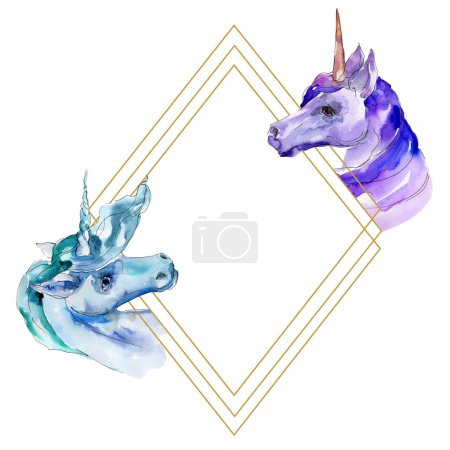 Photo for Cute unicorn horse. Fairytale children sweet dream. Rainbow animal horn character. Watercolor background illustration set. Watercolour drawing fashion aquarelle isolated. Frame border ornament square. - Royalty Free Image