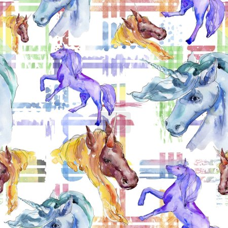 Photo for Cute unicorn horse. Fairytale children sweet dream. Watercolor background illustration set. Watercolour drawing fashion aquarelle isolated. Seamless background pattern. Fabric wallpaper print texture. - Royalty Free Image