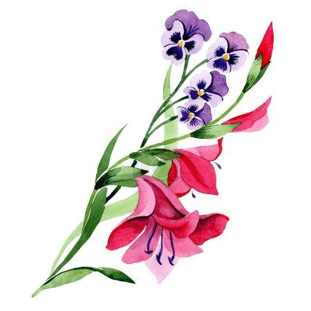 Photo pour Fleurs botaniques florales rouges et violettes. Feuille de printemps sauvage fleur sauvage. Ensemble d'illustration de fond aquarelle. Aquarelle dessin mode aquarelle. Elément d'illustration de bouquet isolé . - image libre de droit