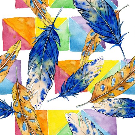 Photo for Watercolor bird feather from wing isolated. Aquarelle feather for background, texture, wrapper pattern, frame or border. Watercolour seamless background pattern. Fabric wallpaper print texture. - Royalty Free Image