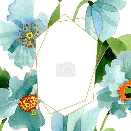 Photo pour Fleur botanique florale de pavot bleu. Feuille sauvage de printemps fleur sauvage isolée. Ensemble d'illustration de fond aquarelle. Aquarelle dessin mode aquarelle isolé. Cadre bordure ornement carré . - image libre de droit