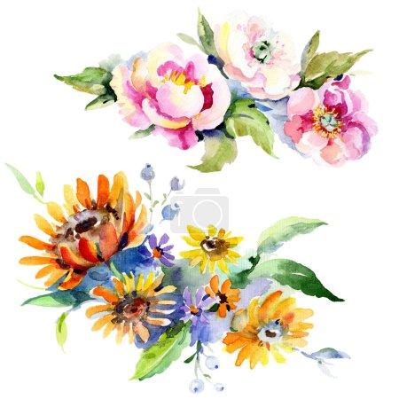 Photo pour Fleur botanique floral bouquets. Wildflower de feuille de printemps sauvage isolé. Aquarelle de fond illustration ensemble. Dessin aquarelle de mode aquarelle. Élément d'illustration isolé bouquet. - image libre de droit