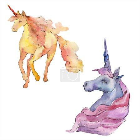 Photo for Cute unicorn horse. Fairytale children sweet dream. Rainbow animal horn character. Watercolor background illustration set. Watercolour drawing fashion aquarelle. Isolated unicorn illustration element. - Royalty Free Image