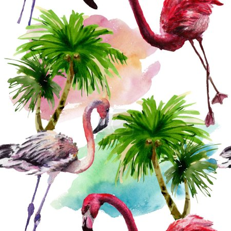 Photo for Exotic red flamingo in a wildlife. Wild freedom bird. Watercolor illustration set. Watercolour drawing fashion aquarelle. Seamless background pattern. Fabric wallpaper print texture. - Royalty Free Image