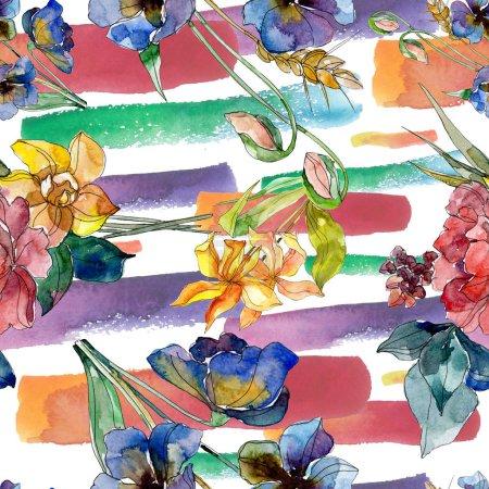 Foto de Moda de lujo estampados con flores silvestres. Plantas silvestres de hoja de primavera salvaje. Conjunto de ilustración acuarela. Aquarelle de moda dibujo de acuarela. Patrón de fondo transparente. Textura impresión de papel pintado de tela. - Imagen libre de derechos