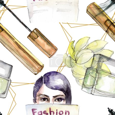 Photo for Fashionable sketch illustration in a watercolor style aquarelle element. Clothes accessories set trendy vogue outfit. Watercolour set seamless background pattern. Fabric wallpaper print texture. - Royalty Free Image