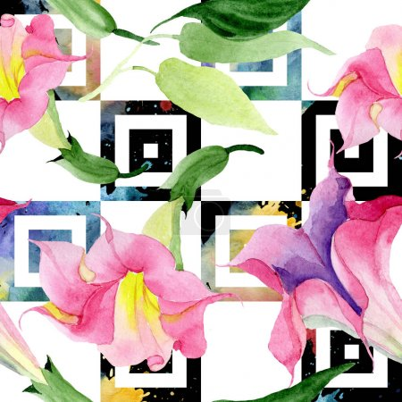 Photo for Pink brugmansia botanical flowers. Wild spring leaf isolated. Watercolor illustration set. Watercolour drawing fashion aquarelle. Seamless background pattern. Fabric wallpaper print texture. - Royalty Free Image