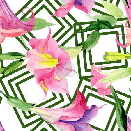 Photo pour Fleurs de botanique Brugmansia rose. Feuille de printemps sauvage isolée. Ensemble d'illustration à l'aquarelle. Aquarelle dessin mode aquarelle. Motif de fond transparent. Texture d'impression papier peint tissu. - image libre de droit