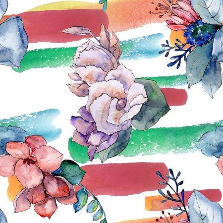Photo pour Bouquet florales fleurs botaniques. Wildflower de feuille de printemps sauvage isolé. Illustration aquarelle ensemble. Dessin aquarelle de mode aquarelle. Motif de fond transparente. Impression texture de tissu papier peint. - image libre de droit