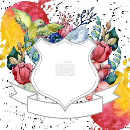 Photo pour Bouquet florales fleurs botaniques. Wildflower de feuille de printemps sauvage isolé. Aquarelle de fond illustration ensemble. Aquarelle de mode dessin aquarelle isolé. Place de cadre bordure ornement. - image libre de droit