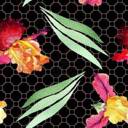 Photo pour Red Bold rencontre des fleurs botaniques d'iris. Feuille sauvage de source d'isolement. Ensemble d'illustration d'aquarelle. Aquarelle de dessin à l'aquarelle. Modèle de fond sans couture. Texture d'impression de papier peint de tissu. - image libre de droit