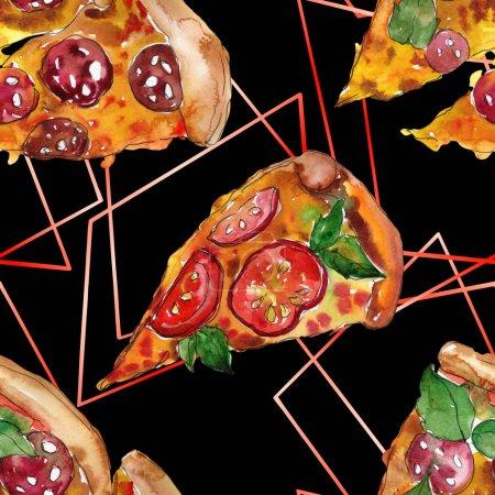 Photo pour Restauration rapide pizza itallienne dans un ensemble isolé de style aquarelle. Illustration d'objets dessinés à la main sur fond blanc. Aquarelle motif de fond sans couture. Tissu papier peint aquarelle texture d'impression . - image libre de droit