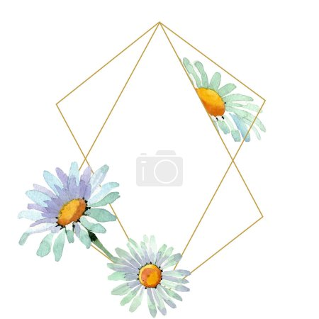 Photo for Big white chamomile floral botanical flowers. Wild spring leaf wildflower isolated. Watercolor background illustration set. Watercolour drawing fashion aquarelle. Frame border ornament square. - Royalty Free Image