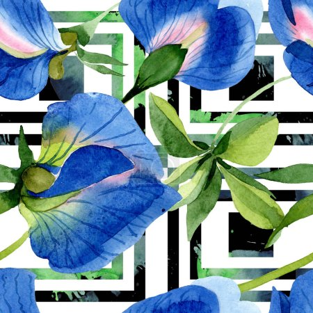 Photo for Blue sweet pea floral botanical flowers. Wild spring leaf wildflower. Watercolor illustration set. Watercolour drawing fashion aquarelle. Seamless background pattern. Fabric wallpaper print texture. - Royalty Free Image