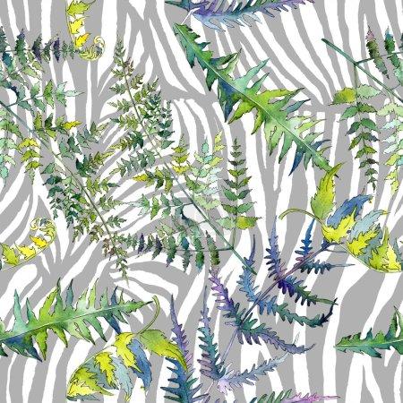Photo pour Feuilles de fougère verte. Feuillage floral de jardin botanique de plante de feuille. Ensemble d'illustration aquarelle. Aquarelle dessin mode aquarelle. Modèle de fond sans couture. Texture d'impression papier peint tissu . - image libre de droit