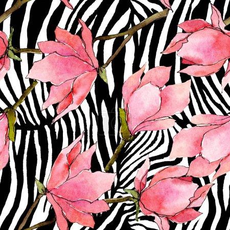 Foto de Flores botánicas florales de magnolia rosa. Flor silvestre de la hoja de primavera wildflower. Conjunto de ilustraciones de acuarela. Acuarela dibujando moda acuarela. Patrón de fondo sin costuras. Textura de impresión de fondo de pantalla de tela. - Imagen libre de derechos