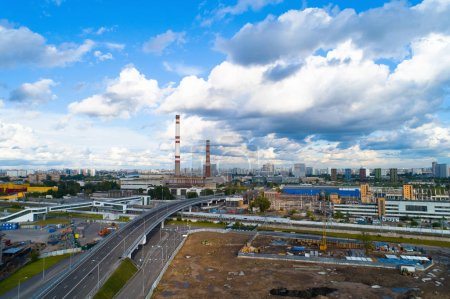 A new flyover on the territory of the former Likhachev Plant. Aerial photography.