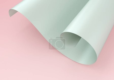 3d rendering of green waved paper isolated on pink background. Part of twirled paper with empty space for design or text.