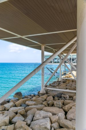 Photo for View under the bridge near the ocean - Royalty Free Image