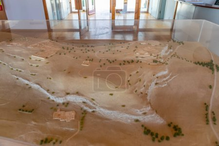 Photo pour Maquette de la zone sablonneuse avec des arbres sous le verre au musée - image libre de droit