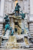Budapest / Hungary 19.March 2019 sculpture of the fountain Matias
