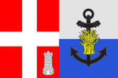 Flag of Albertville in Savoie of Auvergne-Rhone-Alpes region in