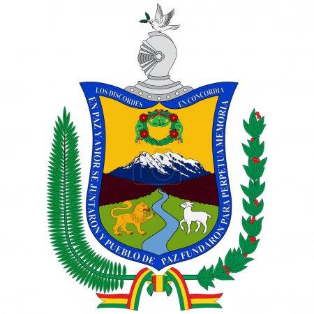 Illustration pour Les armoiries de La Paz à Aymara, est le siège du gouvernement et la capitale nationale de facto de l'État plurinational de Bolivie. Illustration vectorielle - image libre de droit