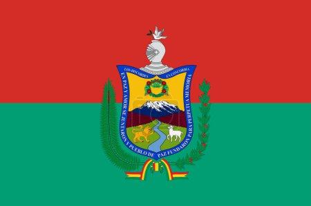 Illustration pour Drapeau de La Paz à Aymara, est le siège du gouvernement et la capitale nationale de facto de l'État plurinational de Bolivie. Illustration vectorielle - image libre de droit